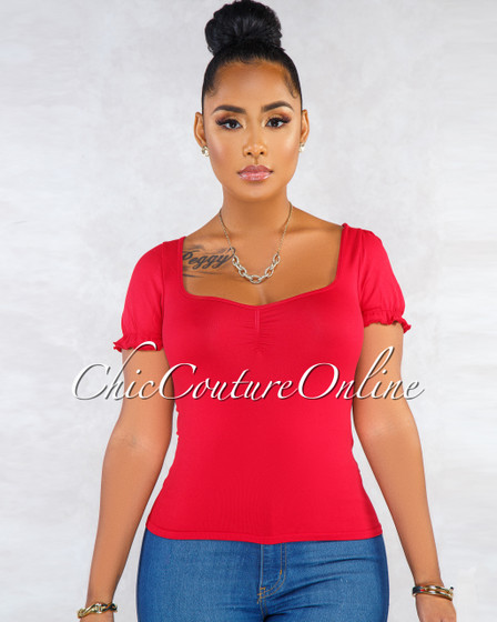 Gracie Red Seamless Ruched Detail Luxe Crop Top