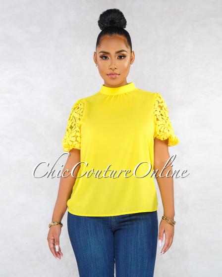 Elaisa Yellow Crochet Puffy Sleeves Blouse