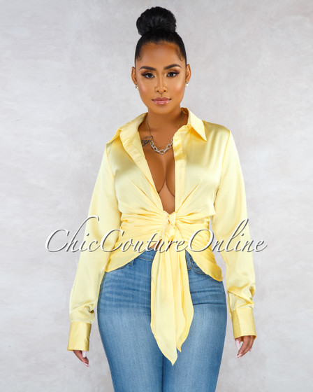 Fynn Yellow Front Ruched Tie Silky Blouse