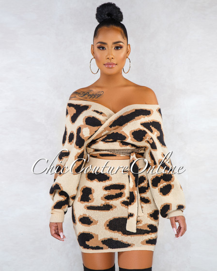 Tashana Nude Leopard Print  Wrap Top Skirt Set