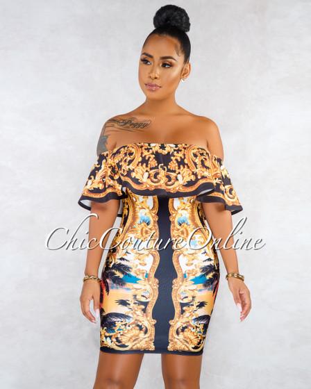 Elise Black Gold Print Ruffle Body-Con Dress