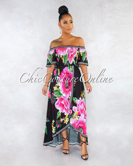 Hadley Black Floral Smocked Top High-Low Ruffle Maxi Dress
