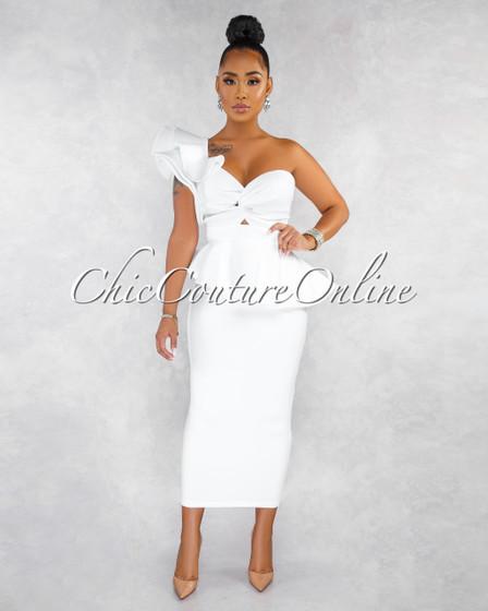 Aminata Off-White Ruffle Top Maxi Skirt Ponti Set