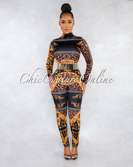 Henley Black Gold Print Long Sleeves Jumpsuit