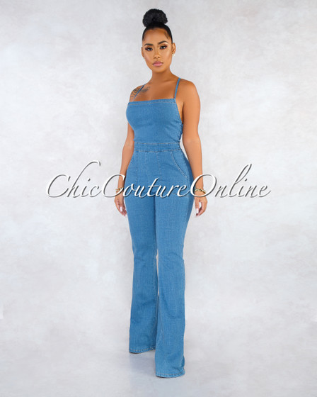 Niecy Blue Denim Open Back Jumpsuit