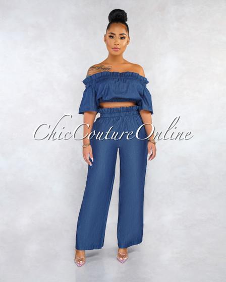 Danity Dark Blue Chambray Ruched Top Pants Set