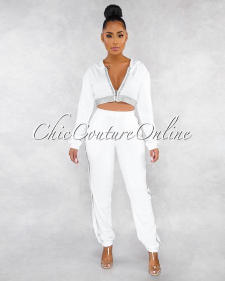Luana Off-White Rhinestones Embellished Sweat Pants Set