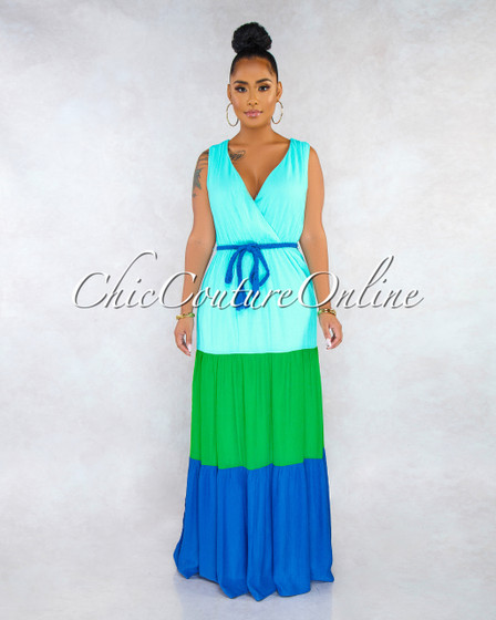 Venetti Blue Green Color Block Maxi Dress