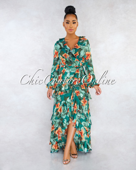 Hugh Green Floral Print Ruffle Wrap Maxi Dress