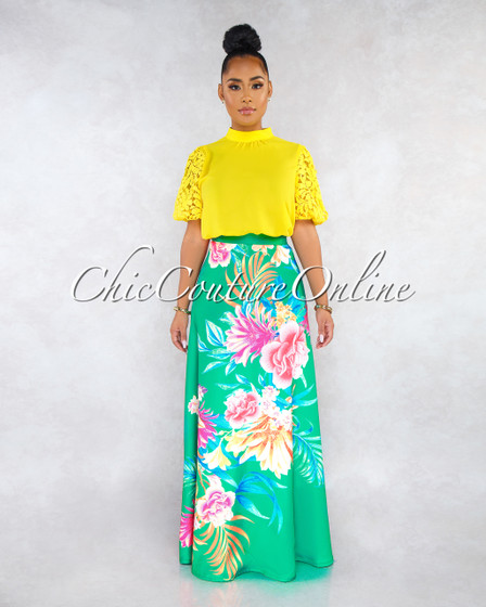 Izabelli Green Floral Print Luxe Satin Maxi Skirt