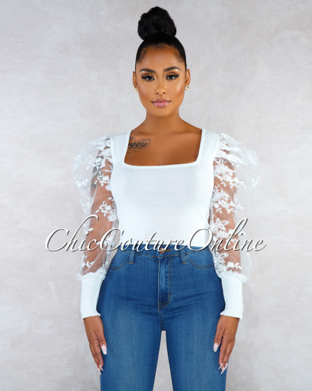 Tayler Off-White Lace Puffy Sleeves Knit Top