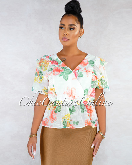 Symphony Ivory Multi-Color Floral Print Ruffle Blouse