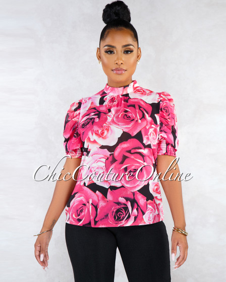 Siney Black Fuchsia Roses Print Sheer Puffy Sleeves Blouse