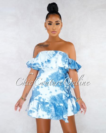 Subira Denim Tie-Dye Overlay Ruffle Self-Tie Mini Dress