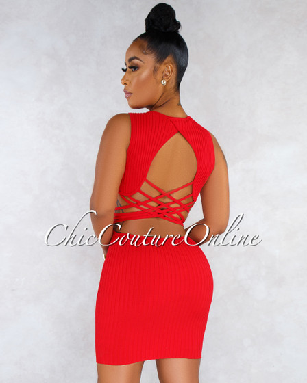 Flossy Red Front Zipper Strappy Back Ribbed Dress