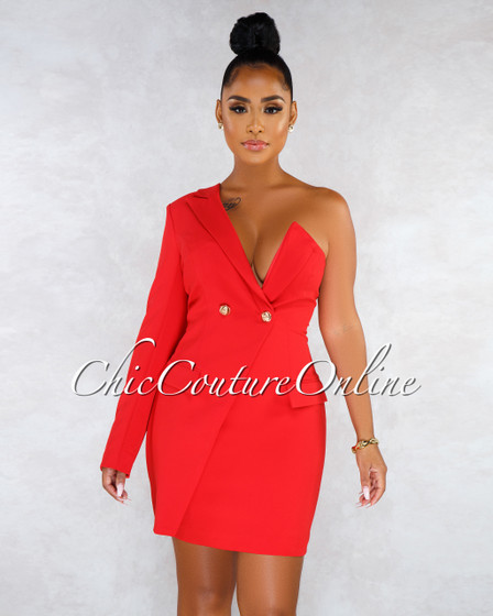 Karol Red Gold Buttons Trench Single Sleeve Dress