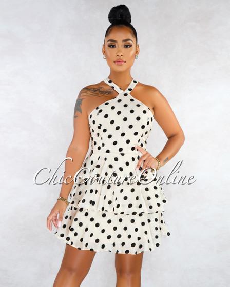 Atenas Taupe Black Polka Dots Ruffle Hem Dress