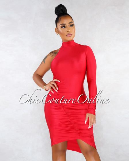 Zaina Red Single Sleeve Ruched High-Shine Dress