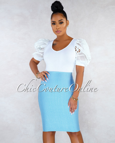 Lizeth Sky Blue Elastic Body-Con Skirt