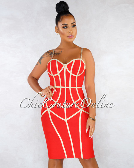 Portland Red Gold Trim Bandage Dress