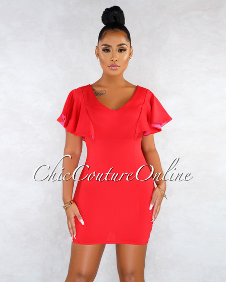 Kristalee Red Fuchsia Ruffle Detail Dress