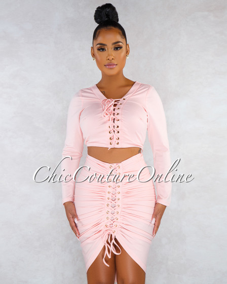 Rylee Salmon Lace-Up Two Piece Set