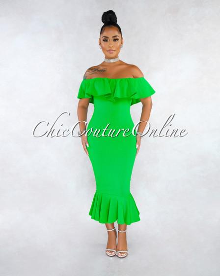 Ekon Emerald Green Off-The-Shoulder Ruffle Midi Dress