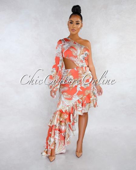 Sunrise Orange Nude Floral Print Ruffle Cut-Out Satin Maxi Dress