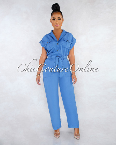 Scotch Blue Self-Tie Belt Utility Jumpsuit