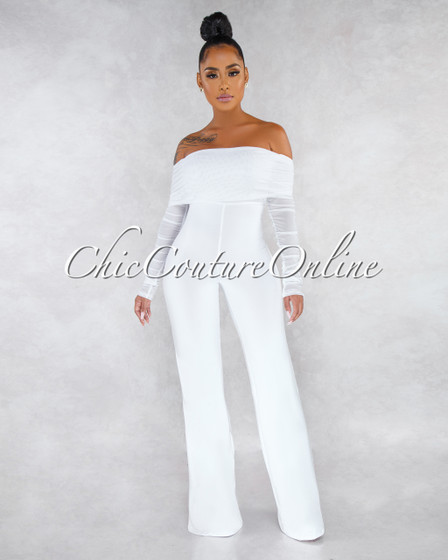Ariel Off-White Strapless Mesh Ruched Sleeves Jumpsuit