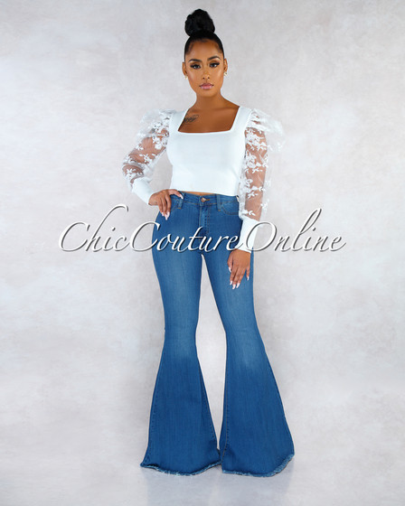 Chayanne Medium Blue Denim High Waist Bell Bottom Jeans