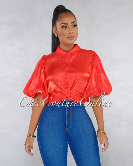 Sophonie Tomatoe Red Silky Knot Front Top
