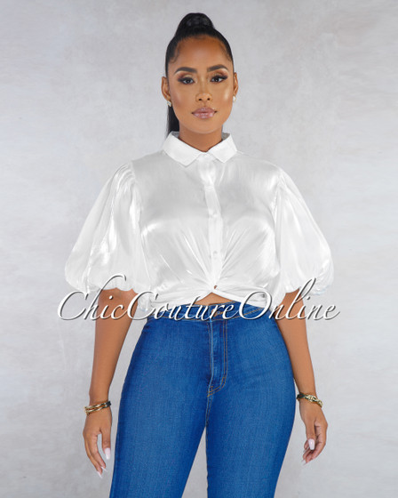 Sophonie White Silky Knot Front Top