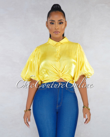 Sophonie Yellow Silky Knot Front Top