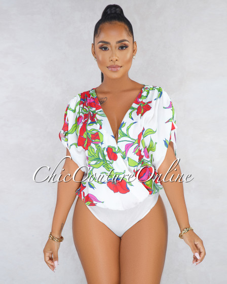 Delphine Off-White Plunging V Neck Floral Bodysuit