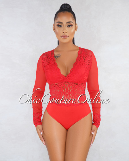 Ava Red Lace See-Through Long Sleeves Bodysuit