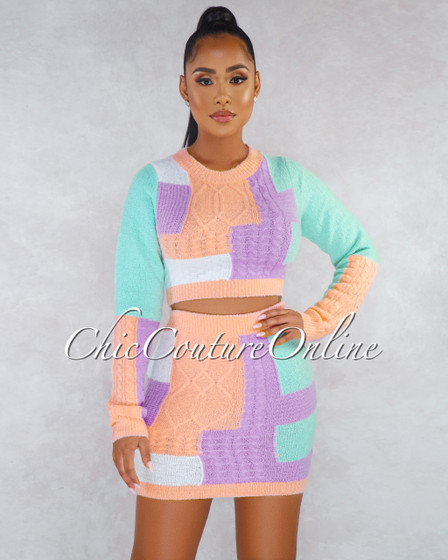 Marie Pastel Multi Block-Color Knit Mini Two Piece Set