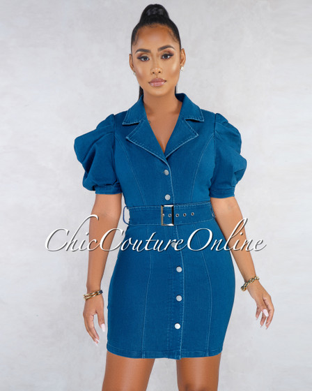 Shani Medium Denim Trench Puffy Sleeves Dress