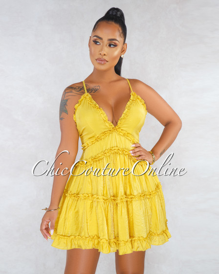 Espina Mustard Yellow Ruffle Low Back Mini Dress