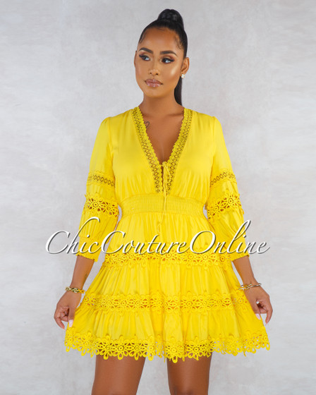 Yineth Yellow Crochet Embroidery V Neck Skater Dress