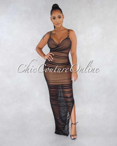 Kourtney Nude Black Ruched Mesh Golden Straps Maxi Dress
