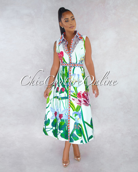 Sindy Off-White Lace Green Print Floral Belt Rhinestones Midi Dress