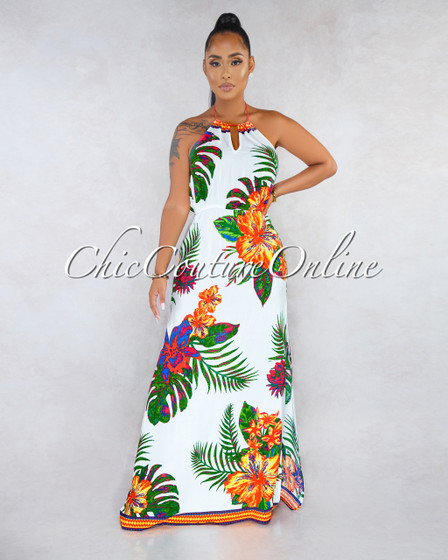 Salome Off-White Multi-Color Floral Print Halter Maxi Dress