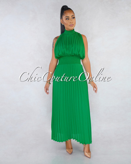 Argentina Green Pleated Luxe Halter Maxi Dress
