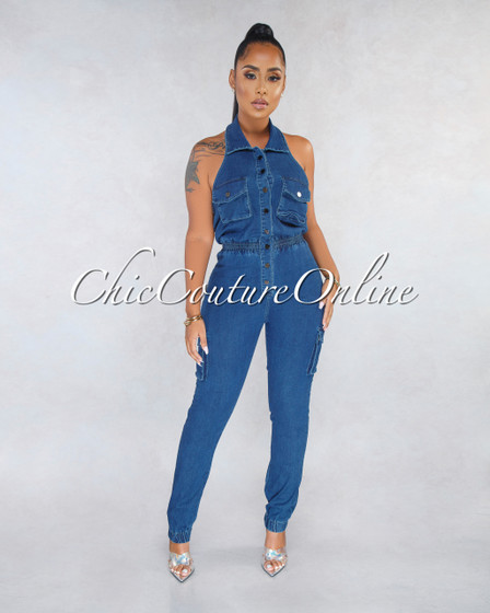 Biloxi Dark Denim Utility Halter Jumpsuit