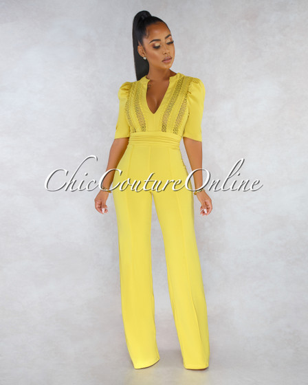 Shakina Mustard Yellow Top Crochet Puffy Sleeves Jumpsuit