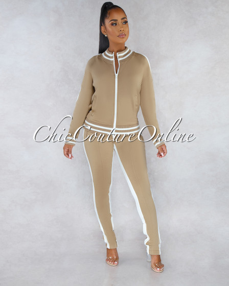 Madrona Taupe White Track Suit Snap Two Piece Set