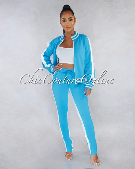 Madrona Arctic Blue White Track Suit Snap Two Piece Set