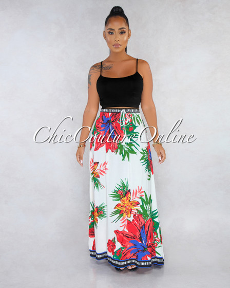 Jayna White Tropical Floral Print Maxi Skirt