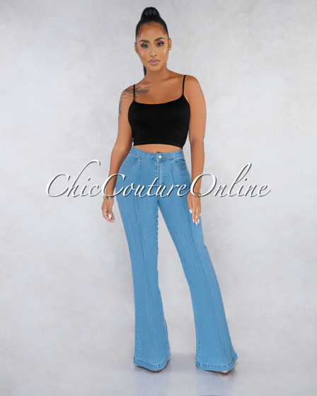 Abeni Light Blue Denim High Waist Bell Legs Jeans